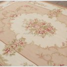 8X10 Shabby French Chic Aubusson Rug LIGHT PINK IVORY CREAM Subtle Pastel Roses