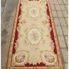 8' / 244cm Runner Rug Aubusson Needlepoint Vintage French Home Decor Wool Carpet