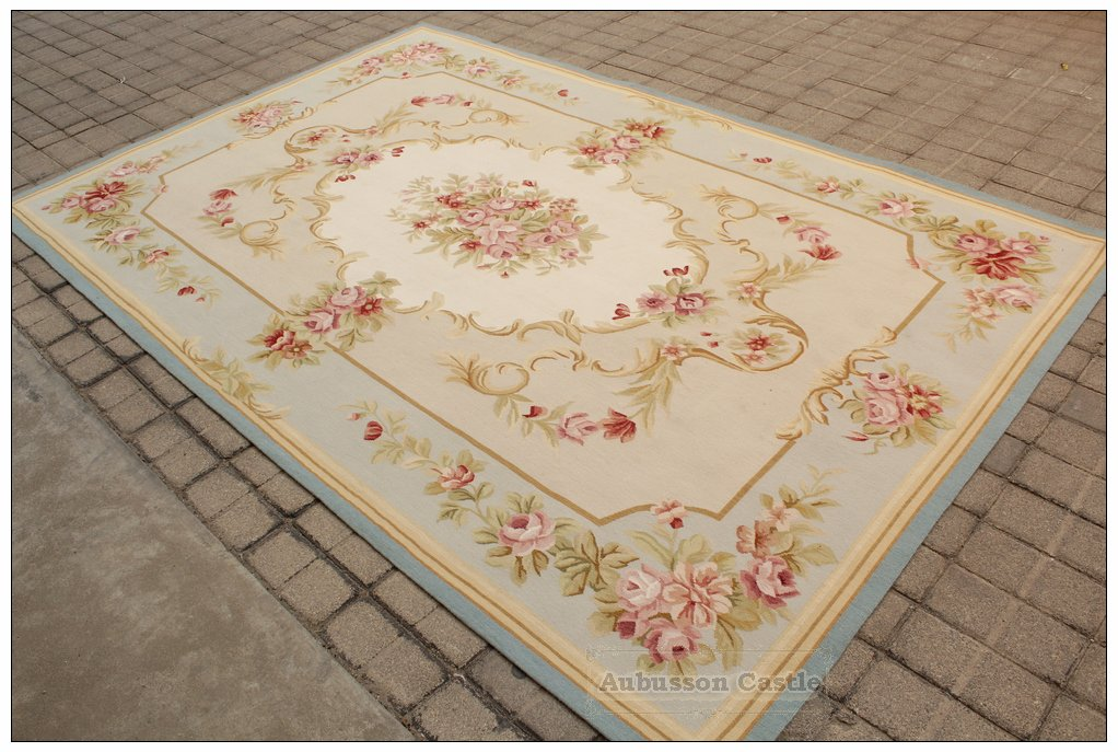 6X9 LIGHT BLUE CREAM French Aubusson Rug SHABBY PINK CHIC Wool Ivory Carpet NEW
