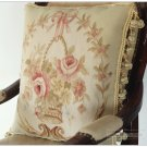 "18"" BEIGE CREAM PINK Aubusson Pillow WOOL WOVEN Sofa Chair Bed Chair Cushion"