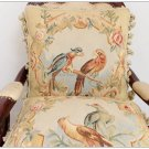 A PAIR French Aubusson Weave Pillow PARROT BIRDS Wool Cushion Cover FREE SHIP!