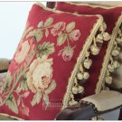 A PAIR! Chic Aubusson Rose Pillow Cushion RED PINK FLORAL 16X12 Wool Hand Woven