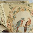18x18 PARROT BIRDS French Aubusson Weave Pillow WOOL HANDMADE Cushion Cover FREE SHIP!