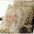 "A PAIR! 18"" BEIGE CREAM PINK Aubusson Pillow WOOL WOVEN Sofa Chair Bed Cushion"