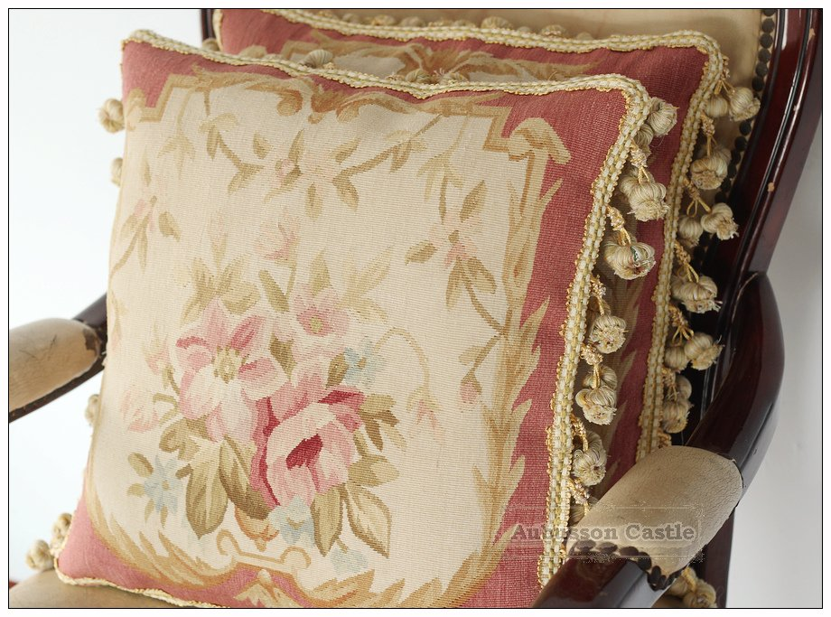 Pair SHABBY PINK CHIC Aubusson Rose Pillow FRENCH COTTAGE Chair Bed Sofa Cushion