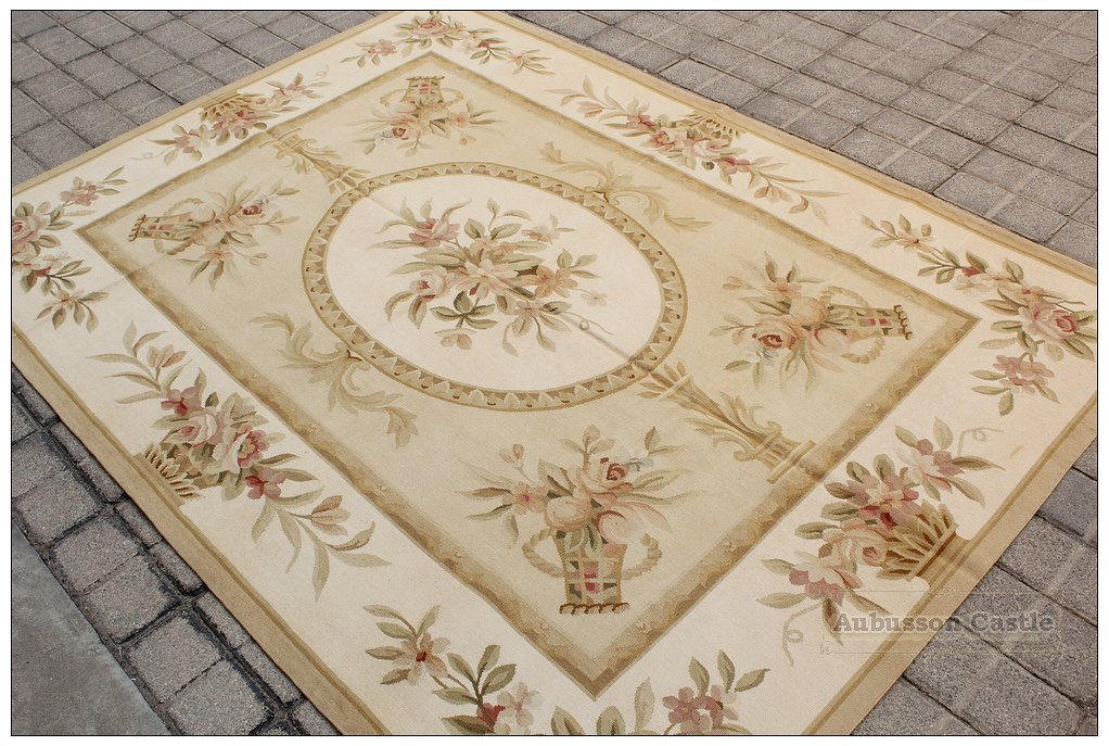 """150X200CM / 5'X6'7"""" Aubusson Area Rug PASTEL GOLD IVORY Wool French Style Carpet"""