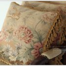 18x18 [Antique French Decor] Wool Aubusson Pillow TROPICAL FLORAL Chair Sofa Cover