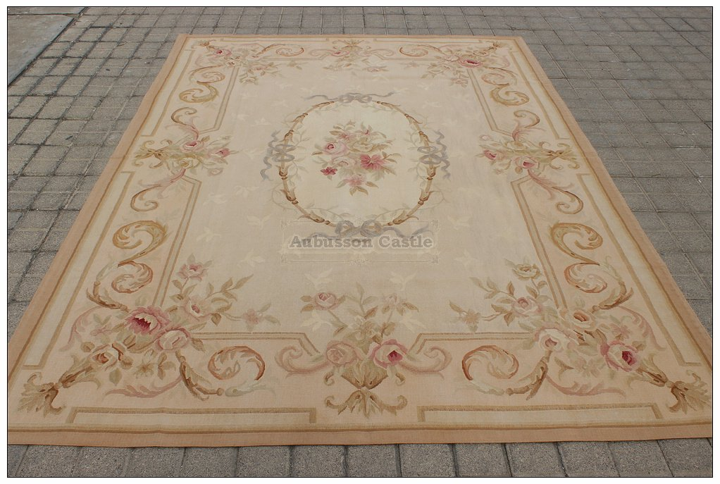 6X9 Aubusson Area Rug ANTIQUE FRENCH PASTEL Wool Handwoven Carpet FREE SHIP!