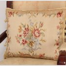 18X14 RIBBON ROSE BOUQUET Aubusson Pillow Cushion Vintage French Home Decor WOOL