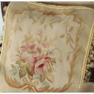 "16"" WOOL Aubusson Pillow PASTEL GOLD PINK CREAM French Home Decor Chair Cushion"