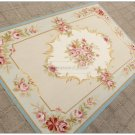 3X5 PASTEL BLUE IVORY French Aubusson Area Rug SHABBY PINK CHIC ROSE Wool Carpet