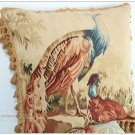 PEACOCK II Aubusson Tapestry Throw Pillow WOOL WOVEN Big Decorative Cushion $700