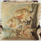 A PAIR! Aubusson Tapestry Throw Pillow ANTIQUE DECOR SEA FISH Cushion FREE SHIP!