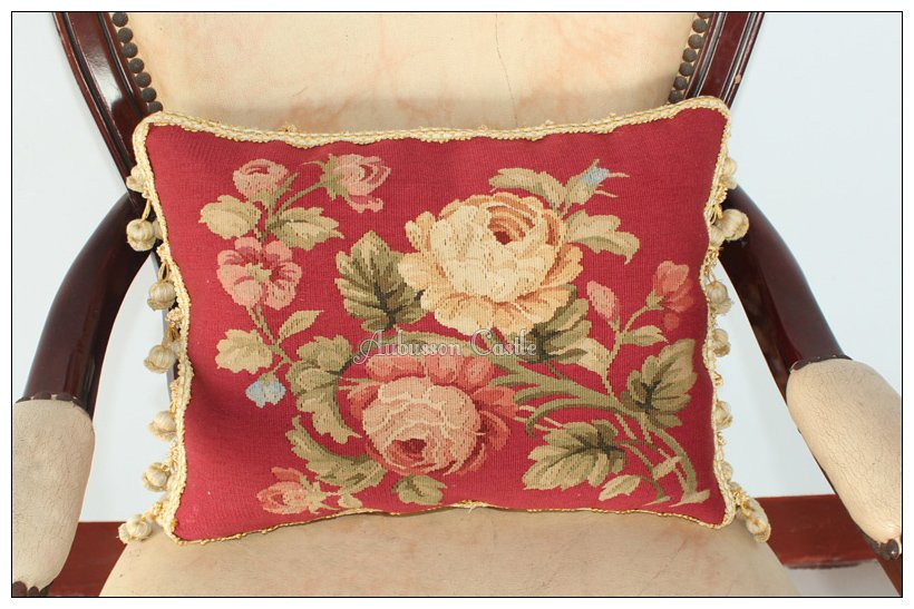 A PAIR! Aubusson Pillow RED PINK Shabby French Chic Rose Cushion Cover 16X12 NEW