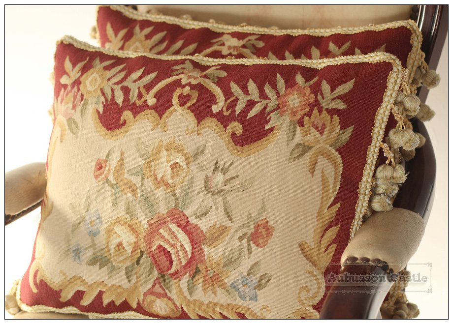 PAIR Shabby French Chic Aubusson Pillow Sofa Chair Cushion RED CREAM Rose Floral