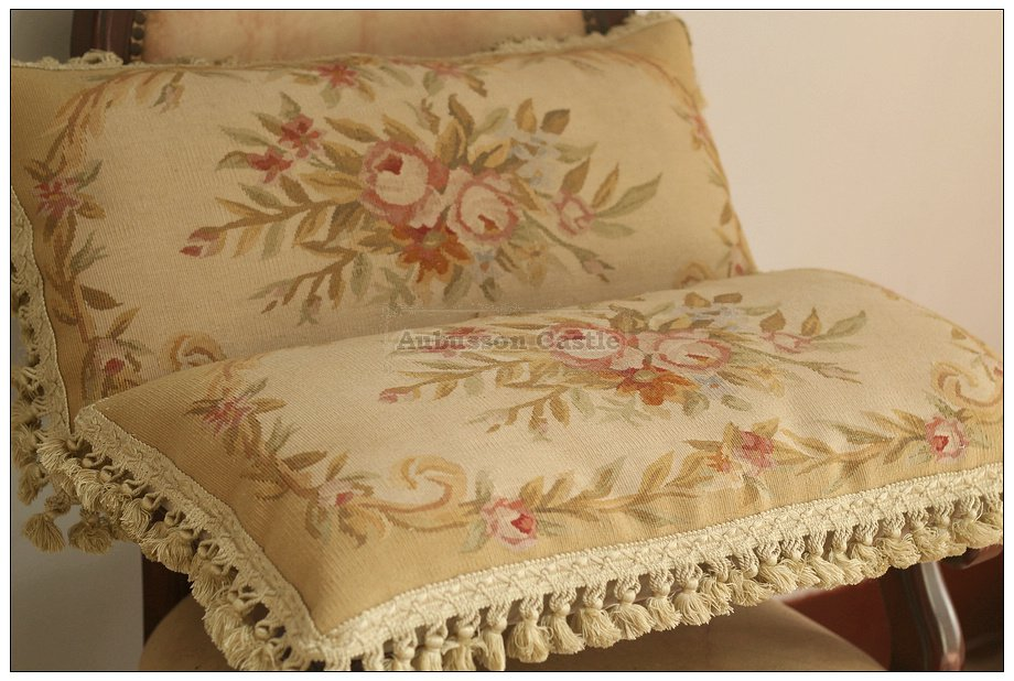 PAIR! Aubusson Rose Pillow French Cottage Cushion PASTEL YELLOW BEIGE CREAM GOLD