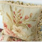 12X12 Aubusson Pillow BLUE PINK Shabby French Chic Rose Sofa Chair Bed Cushion