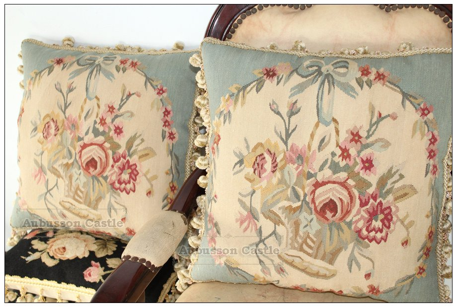 "A PAIR 18"" BLUE Aubusson Pillow WOOL handmade French Decorative Bedding Cushion"
