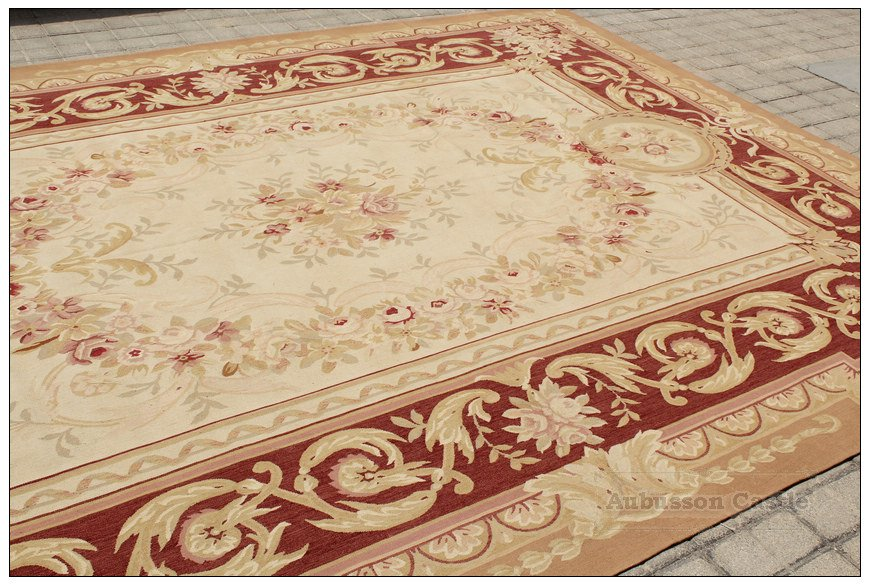 9x12 FREE SHIP! AUBUSSON CASTLE French Area Rug Rust Antique Red Pink Wool Carpet NEW