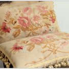"A PAIR 22"" SHABBY PINK CHIC Aubusson Rose Pillow French Decor Sofa Chair Cushion"