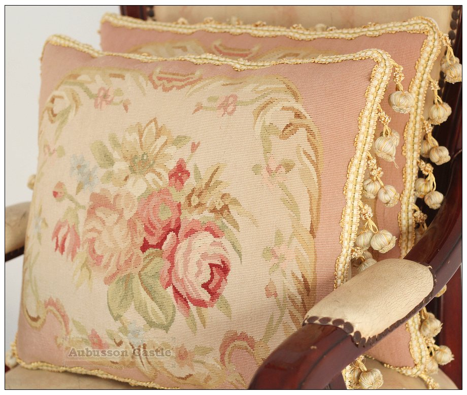 A Pair PINK QUEEN Aubusson Pillow Shabby French Chic Rose Chair Bed Sofa Cushion