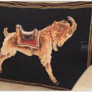 WOOL LUXURY Chic Needlepoint GOLDEN GOAT Pillow Decorative Cushion BLACK FIELD