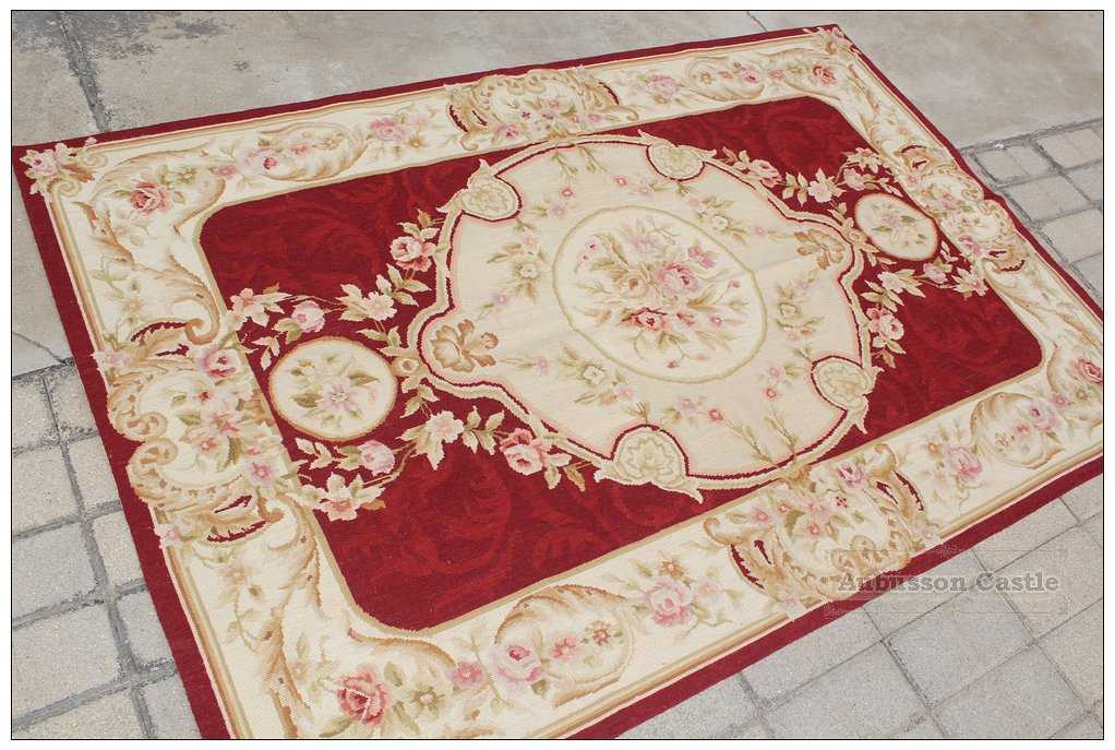 4X6 Shabby French Chic Aubusson Needlepoint Area Rug BURGUNDY IVORY PINK Carpet