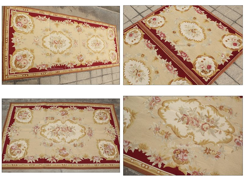 8' Runner  VINTAGE FRENCH Aubusson Needlepoint Area Rug Home Decor Carpet WOOL HANDMADE!
