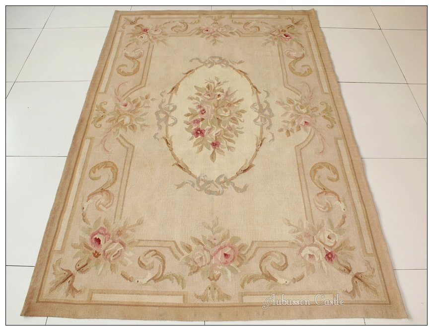 4X6 Aubusson Area Rug - ANTIQUE FRENCH PASTEL Wool Handmade Flat Weave Carpet