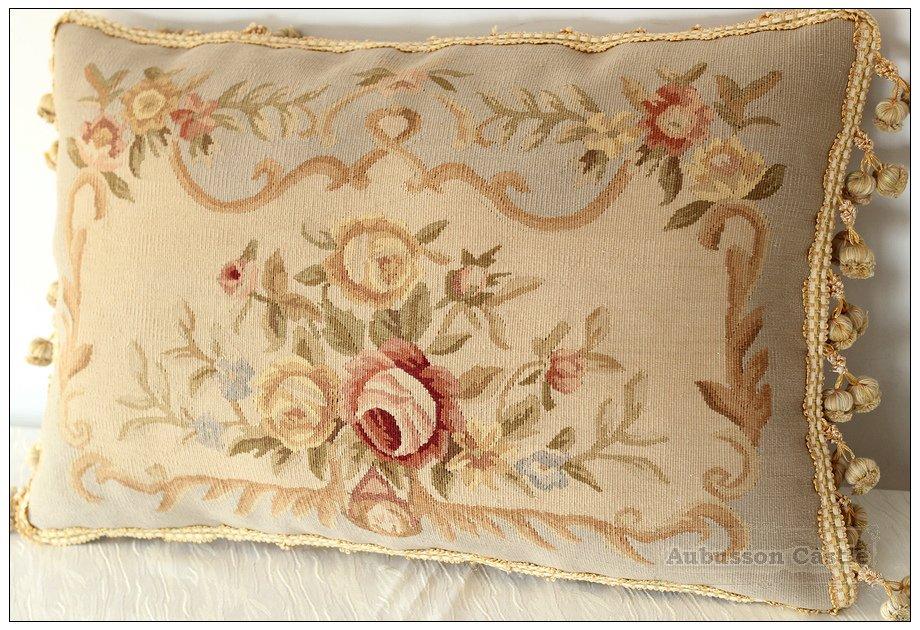 "22""X14"" Aubusson Pillow Shabby French Chic Sofa Chair Bedding Cushion BLUE CREAM"
