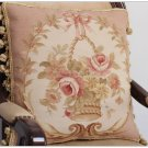 "BIG 18"" SHABBY PINK CHIC ROSE Aubusson Pillow Wool Woven Velvet Back Cushion NEW"