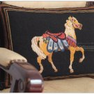 WOOL HANDMADE Chic Needlepoint HORSE Pillow Bed Chair Sofa Cushion BLACK GOLD