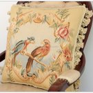"18"" PARROT Aubusson Cottage Pillow French Home Decor Sofa Chair Cushion w Tassel"