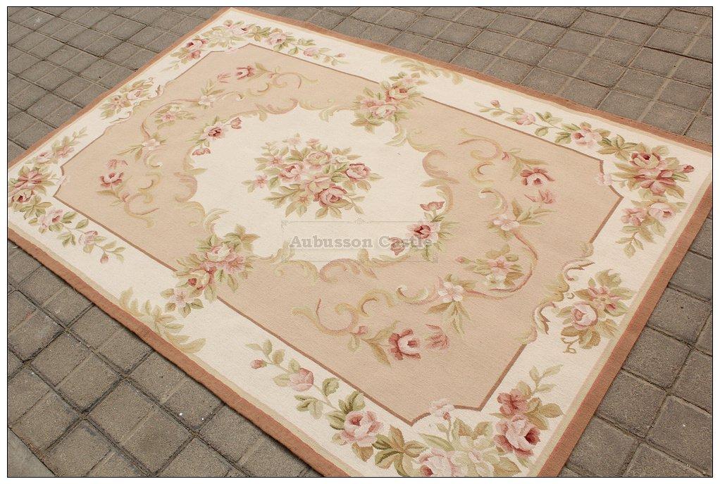 4X6 Shabby French Chic Aubusson Rug PASTEL PINK IVORY CREAM Subtle Pastel Roses