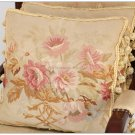 A Pair! SHABBY PINK CHIC Aubusson Cottage Pillow French Decorative Sofa Bed Cushion WOOL