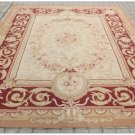 ANTIQUE RED BEIGE 8X10 Aubusson Area Rug CLASSIC FRENCH PASTEL Wool Woven Carpet