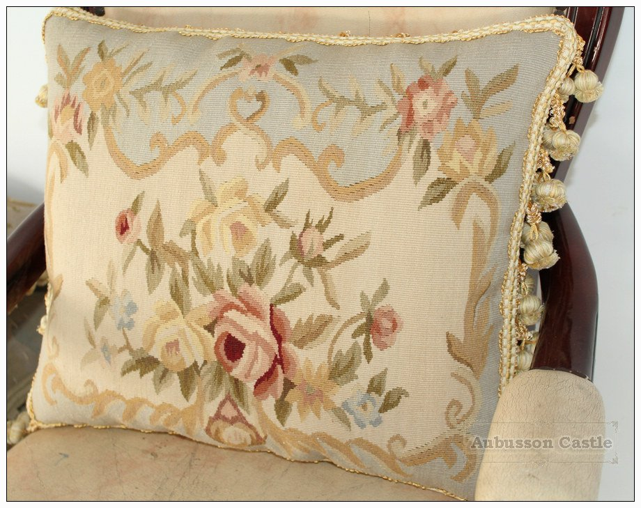 18x14 FREE SHP! Shabby French Chic Aubusson Cottage Pillow BLUE CREAM Wool Cushion NEW