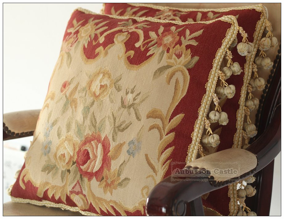 """16"""" Shabby French Chic Aubusson Pillow Sofa Chair Bench Couch Cushion RED CREAM"""