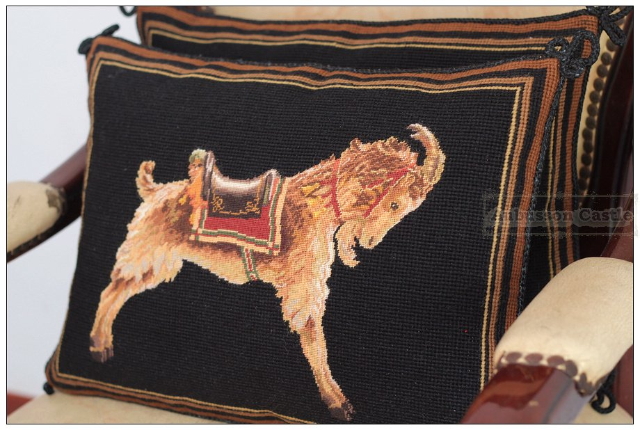 PAIR!! Chic Needlepoint Tapestry Pillow GOLD BLACK Chair bed Cushion WOOL HANDMADE