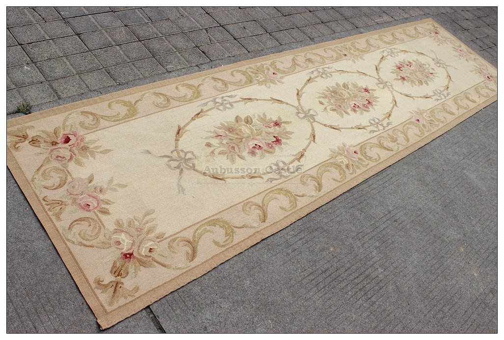 10� RUNNER Aubusson Rug ANTIQUE FRENCH PASTEL Wool Handmade French Stair Carpet