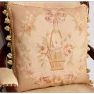 MUTED PASTEL Beige Pink Aubusson Cottage Pillow Shabby French Chic Rose Cushion