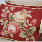 FREE SHIP! Aubusson Pillow RED PINK Shabby French Chic Rose Cushion Cover 16X12