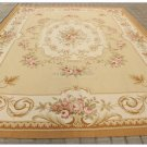 9X12 Aubusson Area Rug YELLOW BEIGE IVORY W PINK ROSE Wool French Decor Carpet