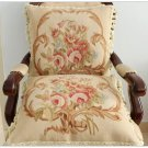 "A PAIR! 18"" BEIGE CREAM PINK Aubusson Cottage Pillow WOOL French Rose Cushion Cover NEW!"