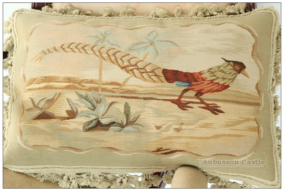 "22""X14"" PHEASANT Aubusson Pillow VELVET TASSEL FRINGE Tapestry Cushion Cover NEW"