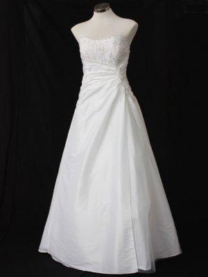 Asymmetrical Wraped Strapless A-line Wedding Dress PL0008