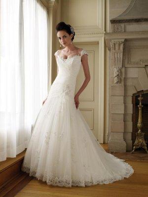Scatter Appliqued Cap Sleeve Wedding Dress MC0035