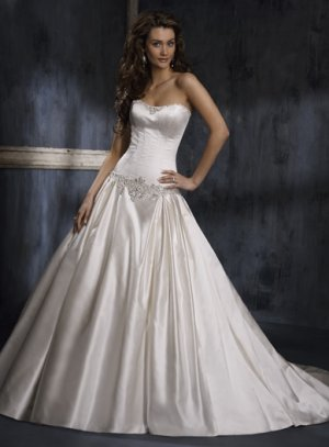 Nice Appliqued Strapless A-line Satin Wedding Dress WN0025