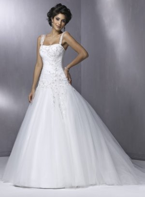 Scatter Appliqued Strapless A-line Wedding Dress WN0071