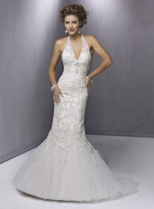 Appliqued Halter Mermaid V-neck Wedding Dress WN0160